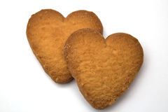 Two cookies in the form of hearts - symbol of love Stock Photo