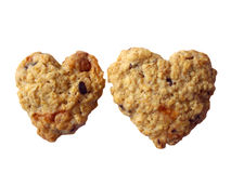 Two cookies heart shape together Royalty Free Stock Image