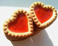 Two cookies hearts Royalty Free Stock Photos