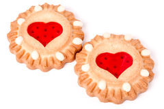 Two cookies with marmalade heart isolated on white background Royalty Free Stock Photography