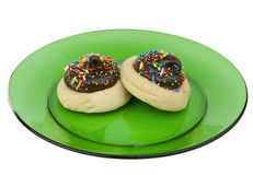 Two cookies on plate Stock Photo