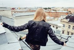 Two cool blond real girls friends making selfie on roof top, lifestyle people concept, modern teens Stock Photography