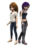 Two cool cartoon teenage girls. Royalty Free Stock Photo
