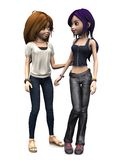 Two cool cartoon teenage girls. Stock Image