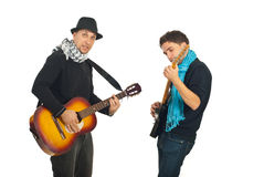 Two cool guys with guitars Stock Photography