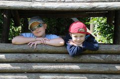 Two Cool Kid Brothers Stock Photo