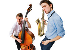 Two cool musicians. Playing isolated on white background Stock Photography