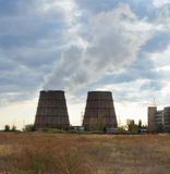 Cooling towers of an energy station Royalty Free Stock Photo
