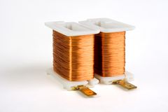 Two copper wire coils Stock Photo