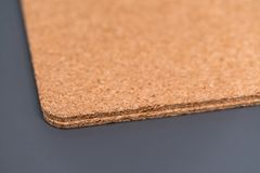 Two cork texture boards on grey background with shallow dept of. Field. Selective focus royalty free stock photography