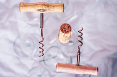 Two corkscrew and cork Royalty Free Stock Image