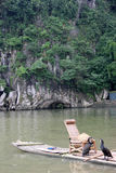 The two cormorants and bamboo raft Royalty Free Stock Photos
