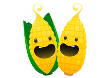 Two corn cartoon character bright juicy on a white background Royalty Free Stock Photo