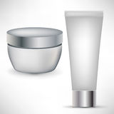 Two cosmetic beauty containers Stock Photo