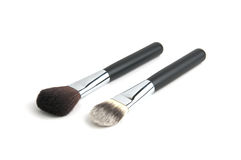 Two cosmetic brushes. White isolated Stock Photos