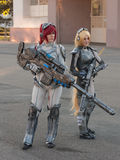 Two cosplayers dressed as the characters from Starcraft stock photo