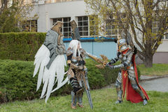 Two cosplayers dressed as the characters Uriel and Haven Paladin Royalty Free Stock Photography