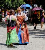 Costumed women chatting at Renaissance Faire in Muskogee Oklahoma USA 5 28 2017. Two Costumed women chatting at Renaissance Faire in Muskogee Oklahoma USA 5 28 Royalty Free Stock Image