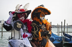 Two costumed women at Venice Carnival 2011 royalty free stock photo