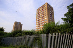 Two council tower blocks with Fence. In Bristol UK Royalty Free Stock Photo