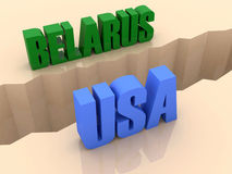 Two countries BELARUS and USA split on sides, separation crack. Royalty Free Stock Image