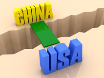 Two countries CHINA and USA united by bridge through separation crack. Stock Images