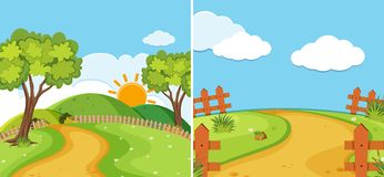 Two countryside scenes with road and field. Illustration Stock Image