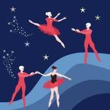 Two couple of ballet dancers on dark blue cosmic background.  vector illustration