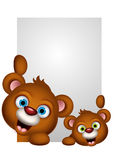 Two couple brown bear cartoon posing Stock Photos