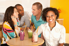 Two Couples Dining Out Stock Photos