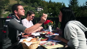 Two couples eating cold cuts for lunch in nature lunch. HD1080p: Two couples eating cold cuts for lunch in nature lunch stock footage