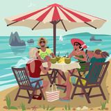 Two couples eating on tropical beach. Two young couples sitting on tropical beach and eating fresh fruits. Table with chairs under sunshade or parasol umbrella Stock Photos