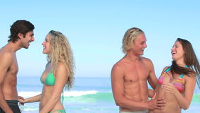 Two couples embracing together. On the beach stock video footage