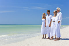 Two Couples Family Generations on Beach Stock Photography