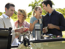 Two Couples Having Picnic Royalty Free Stock Photography