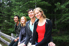 Two couples hiking Stock Photography