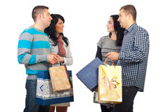 Two couples meeting at shopping Royalty Free Stock Image