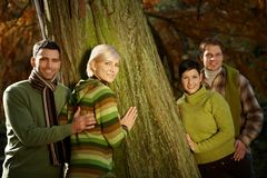 Two couples in nature Royalty Free Stock Photography