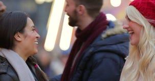 Two Couples Saying Goodbye