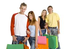 Two couples on shopping Royalty Free Stock Image