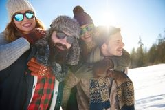 Winter holiday. Two couples spending their best winter holiday Royalty Free Stock Photos