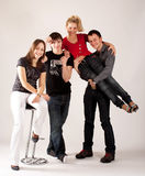 Two couples of teenagers Royalty Free Stock Photo
