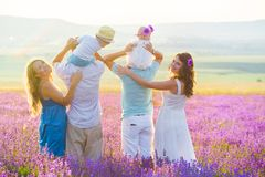 Two friendly family in a lavender field stock photo