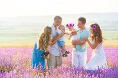 Two friendly family in a lavender field royalty free stock images