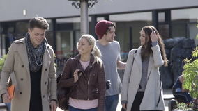 Two Couples Together. Two young couples walking through the city. They are wearing casual clothing and smiling stock video