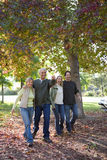 Two couples walking through park in autumn Stock Images