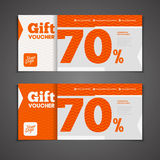Two coupon voucher design. Gift voucher template with amount of Stock Photo