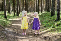 Two cousins holding hands in forest Stock Photo