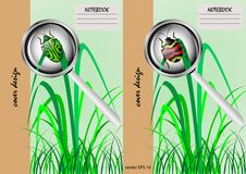 Two covers for notebooks with a beetle on a green background Stock Photos