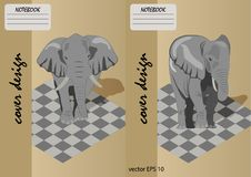Two covers for notebooks with an elephant on a on a chessboard. Set Stock Photo